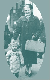Jo shopping with mum, c1960