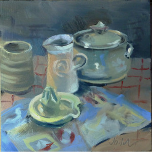 Still life with casserole dish and jugx00