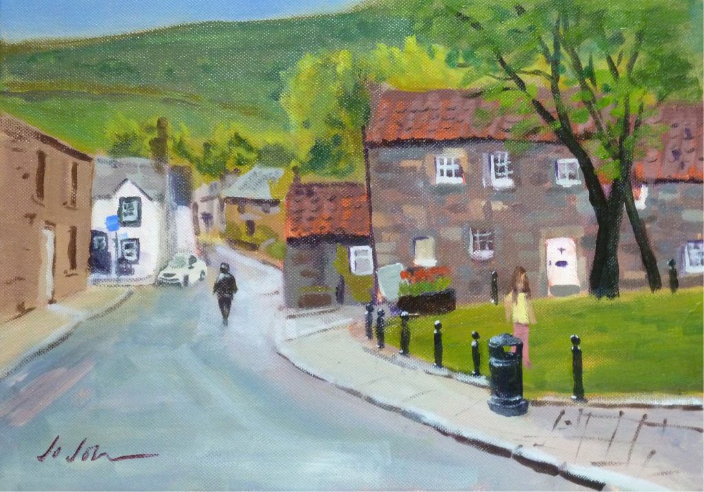 painting of Cross Wynd, street in Falkland village, Fife