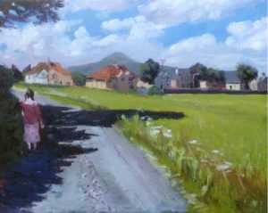 Village walk painting