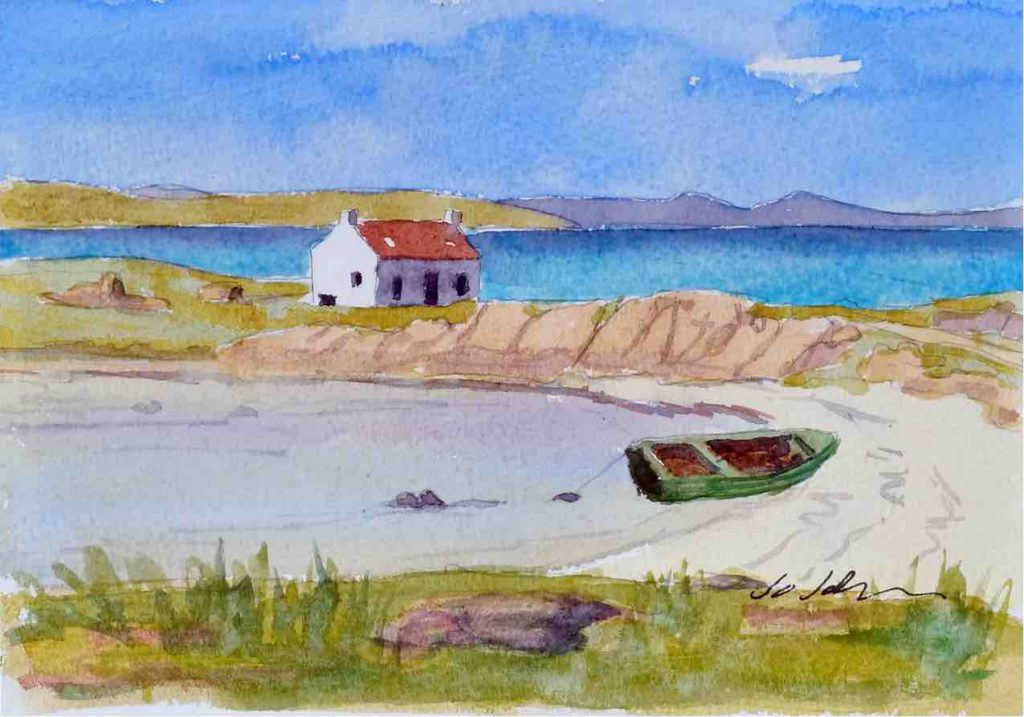 "Deserted beach on Barra. 7"" x 5"" watercolour on 140lb Bockingford Paper."