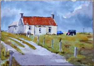 cottage, Isle of Lewis, watercolour on 140lb Bockingford Paper.