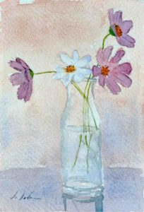 Jar of flowers painted in watercolour